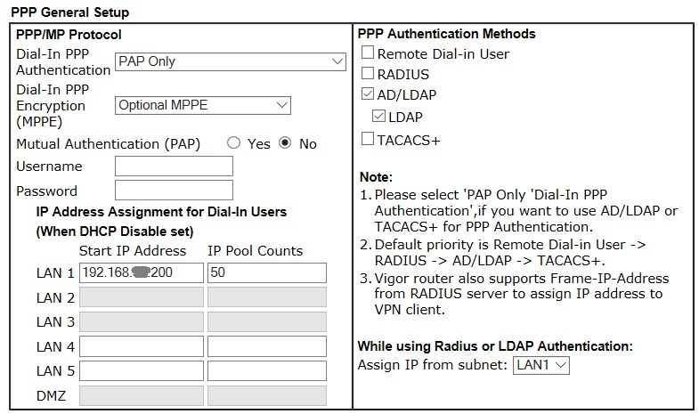 DrayTek Router with LDAP (Active Directory) for Dial-in Users